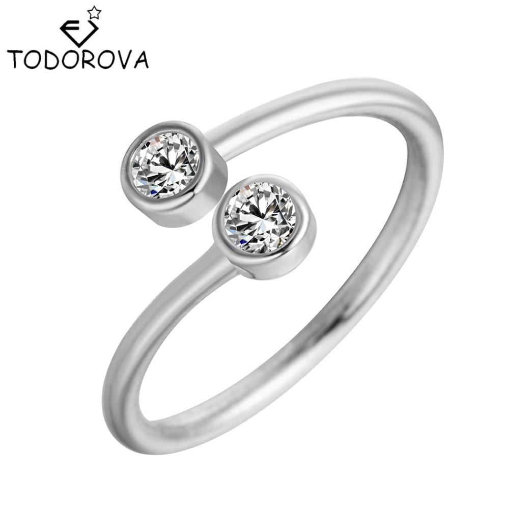 טודורובה 925 כסף סטרלינג קריסטל טבעות עבור נשים תכשיטי יוקרה פעמיים מתכווננת CZ טבעת פתוח טבעות אירוסין טבעות אירוסין