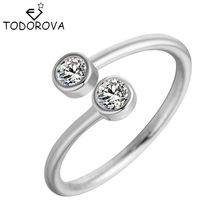 Todorova Crystal Rings for Women Fine Jewelry Adjustable Double Round CZ Ring Open Midi Toe Engagement Rings(China)