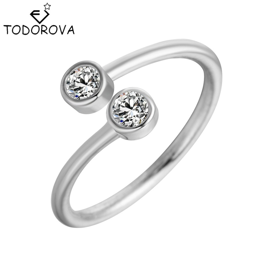 Todorova 925 Sterling Silver Crystal Rings For Women Fine Jewelry Adjustable Double Round Cz Ring Open Midi Toe Engagement Rings image