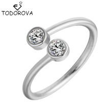 Todorova 925 Sterling Silver Crystal Rings for Women Fine Jewelry Adjustable Double Round CZ Ring Open Midi Toe Engagement Rings licliz 925 sterling silver cz crystal v shape cuff rings for women white gold open adjustable ring jewelry clear