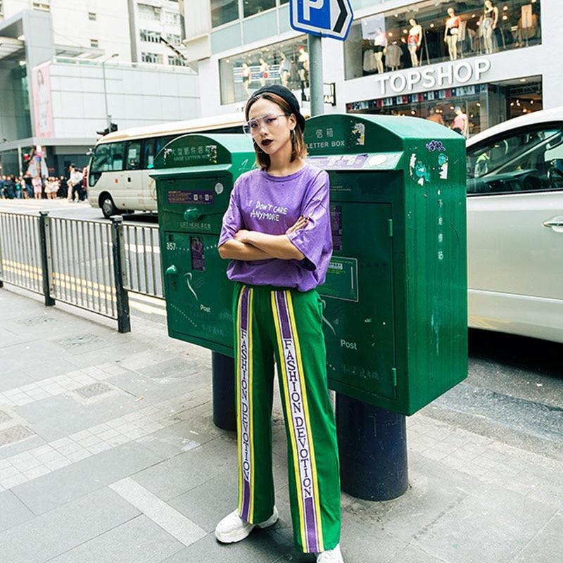 2018 Harajuku High Waist Words Ribbon Print Girl   Wide     Leg     Pants   With Elastic Waist Women Korean Style Elegant Fashion Trousers