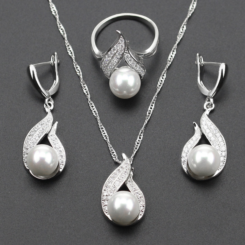 925 Silver Color S Shaped imitation White Pearl Jewelry Set For Women Christmas Gift Silver Color Necklace Earring Ring js31 ...