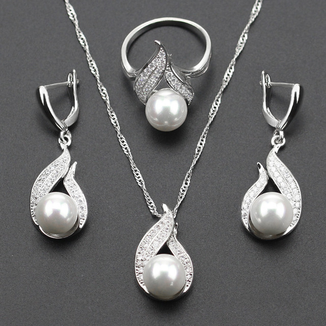 925 Silver Color S Shaped imitation White Pearl Jewelry Set For Women Christmas