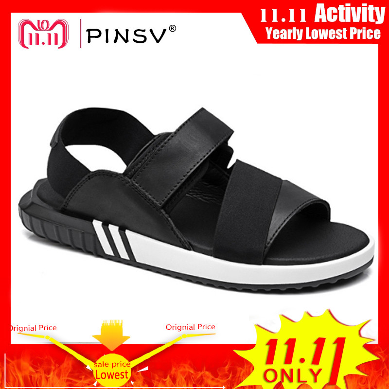 PINSV Leather Sandals Men Summer Shoes Black Men Sandals Outdoor Beach Sandale Homme Sandalias Hombre Big Size 38-47 beautyblender набор косметический pro on the go