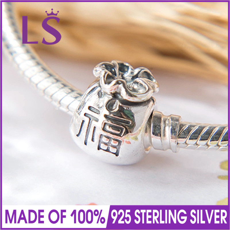 LS High Quality Real 925 Silver Fortune Chinese Money Bag Charm Beads Fit Original Bracelets Pulseira Encantos.Fine Jewlery.J