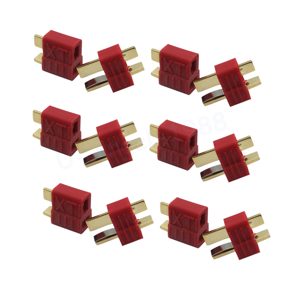 20pcs Anti-skidding Deans Plug T Style Connector Female / Male for RC Lipo Battery ESC Rc Helicopter (10pair) traxxas style female to tamiya male connector adapter lipo nimh rc battery esc