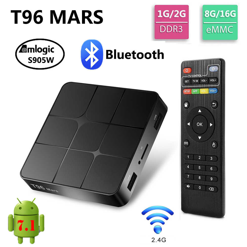 T96 MARS Android 7 1 TV BOX 2GB RAM 16GB ROM Amlogic S905W 2 4G WiFi  Bluetooth Media Player 4K HD Smart Set Top Box vs X96 mini