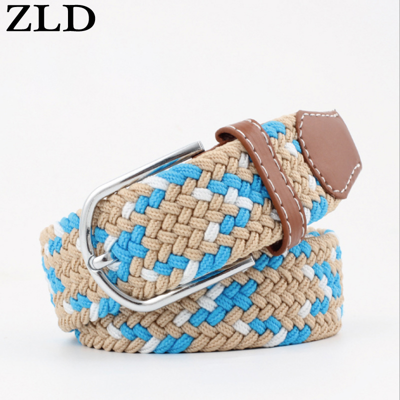ZLD Casual stretch woven   belt   Women's unisex Canvas elastic   belts   for women jeans Modeling pin buckle   belt   120-130CM