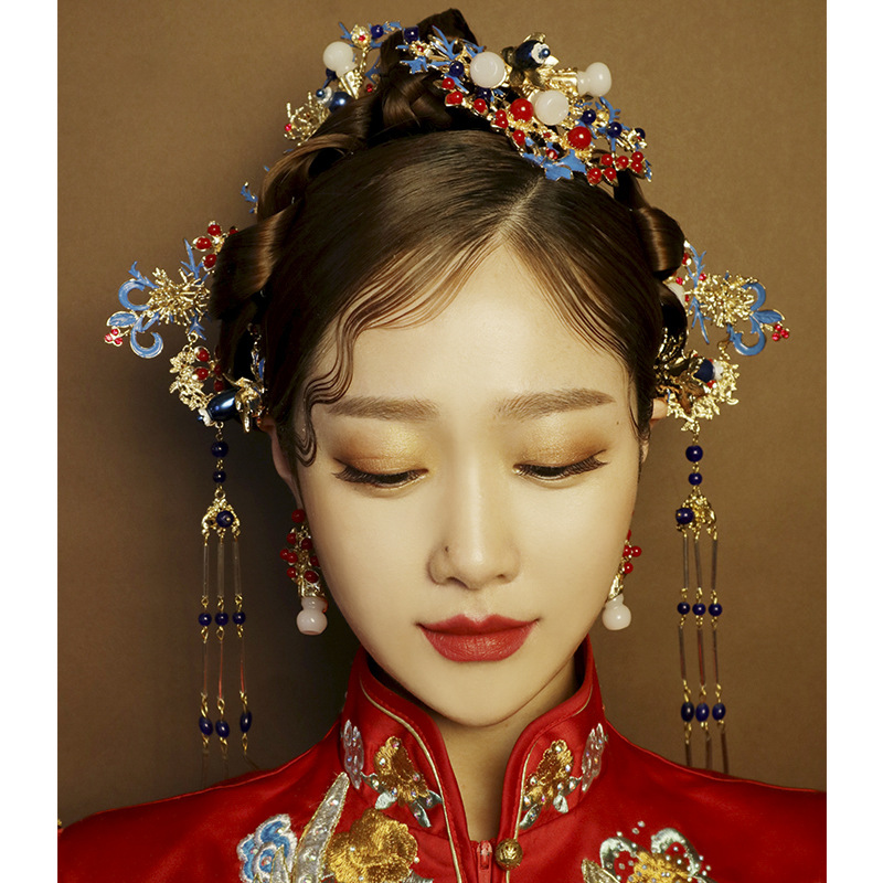 c782c19e4 Chinese Cloisonne Phoenix crown ornament ancient costume hairpin classic  wedding dragon hair accessories