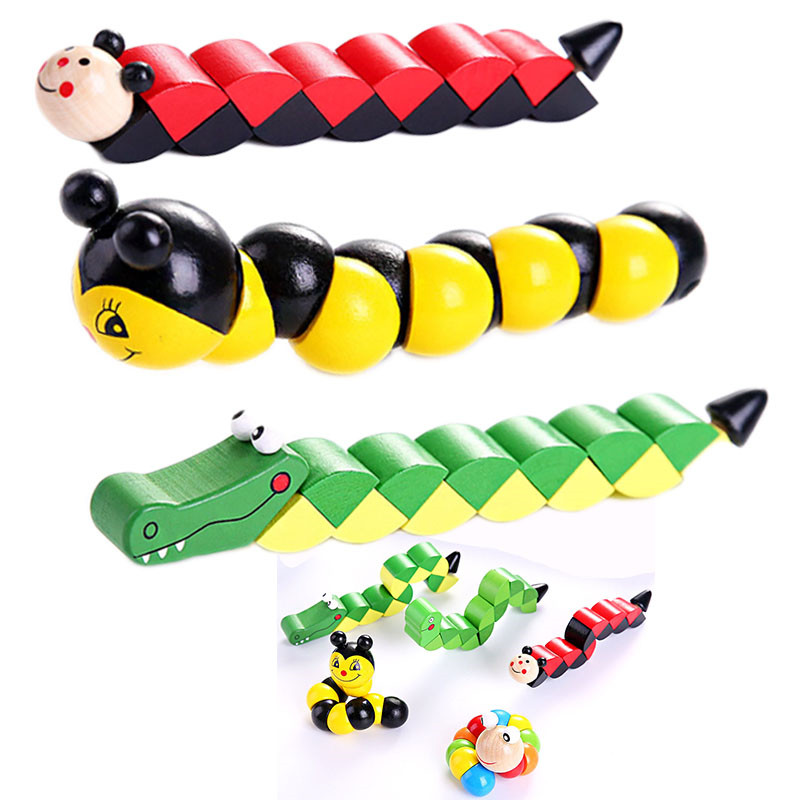 Colorful Wooden Worm Puzzles Kids Learning Educational Didactic Baby Development Toys Fingers Game For Children Montessori Gift image