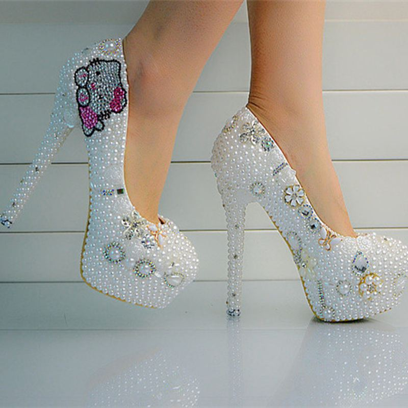 No Heel Wedding Shoes: Custom Crystal Pearls Wedding Shoes White For Women High