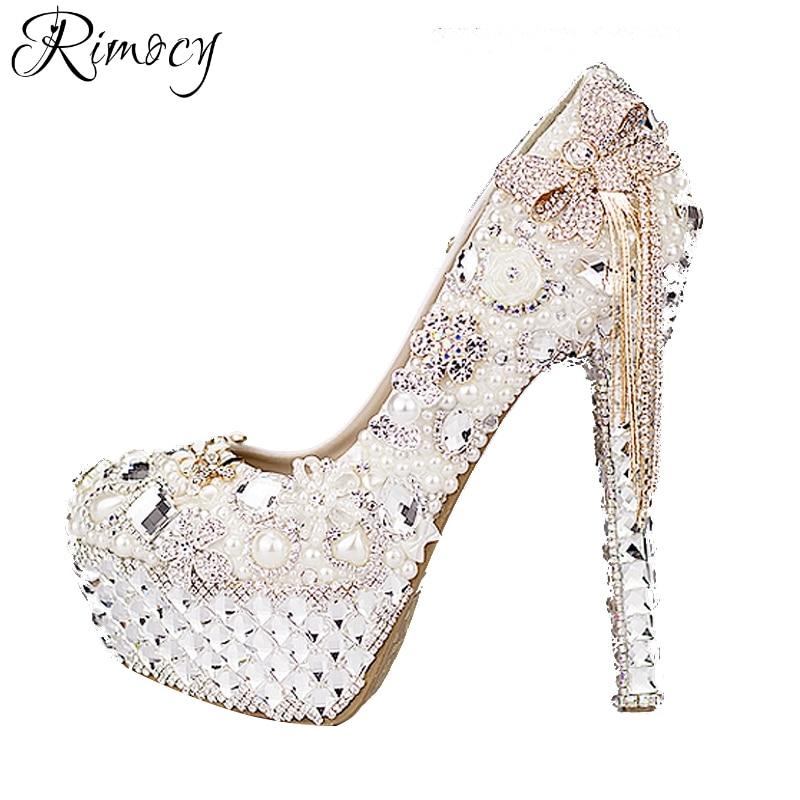 Rimocy custom crystal wedding shoes women white rhinestone and pearls bowtie super high heels platform pumps