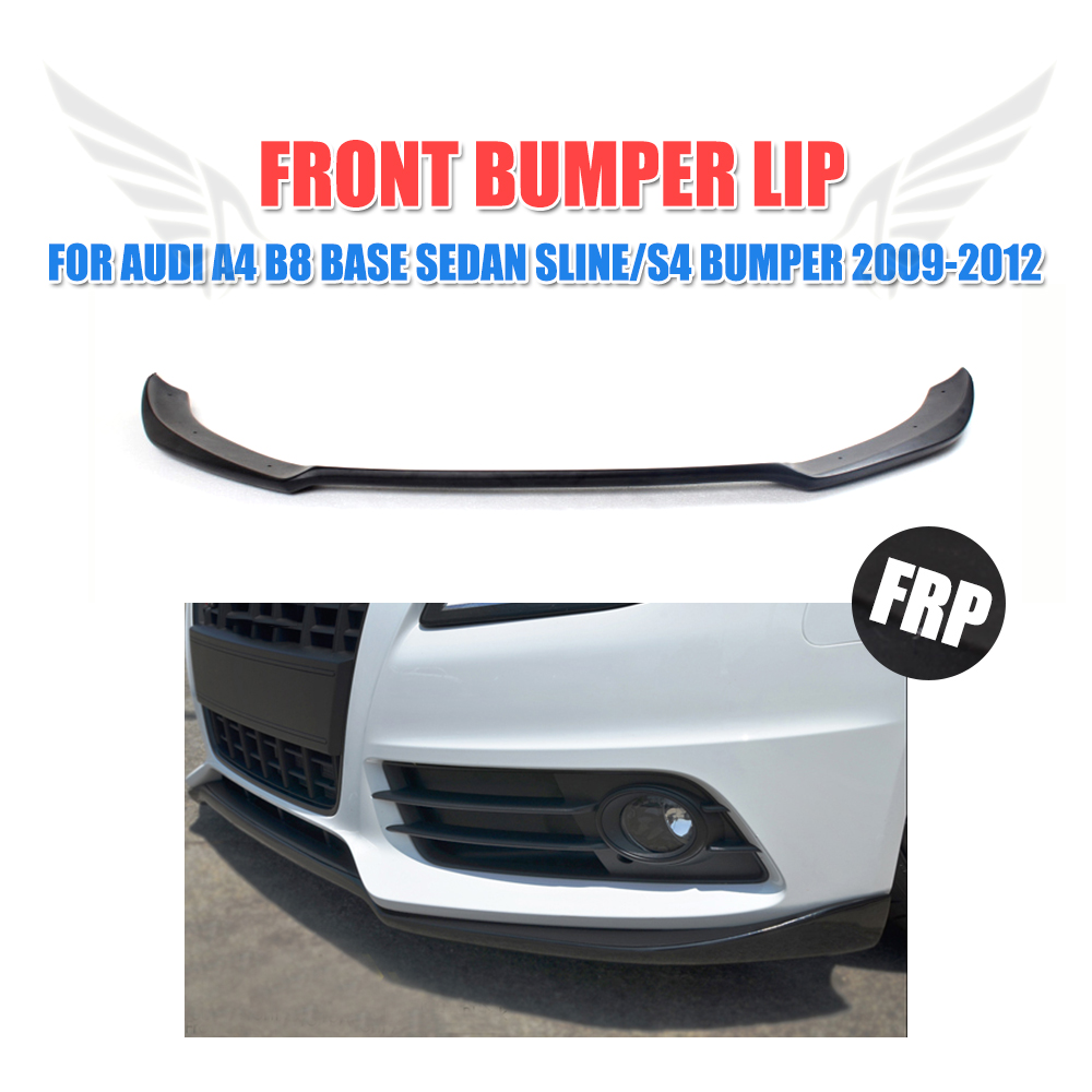 FRP Black Front Splitter Lip Spoiler Apron Fit For Audi A4 B8 S4 Sline Bumper 2009-2012 Non-Standard Bumper Car Styling