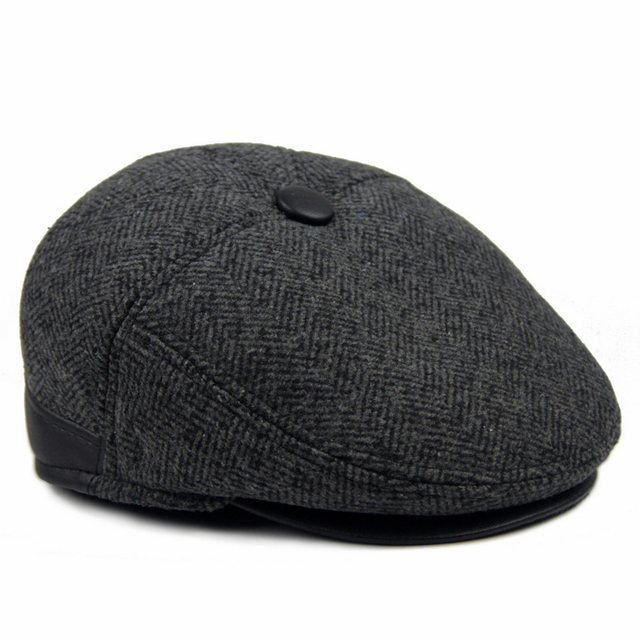44d2a8a8436ce Upscale middle-aged men cap hat autumn and winter days warm wool hat father  Nick bulk around the ear old hat