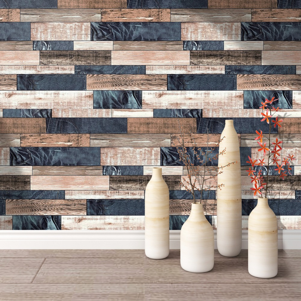купить HaokHome Vintage Wood Wallpaper for walls 3D Blue/Brown Vinyl Contact Paper Home For Living room Bedroom kitchen Wall Decor по цене 2713.1 рублей