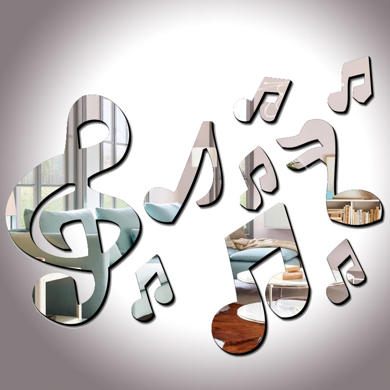 3D Musical Notes Acrylic Mirrors Wall Sticker Home Decor Living Room Wall Decoration Art DIY Stickers Decals image