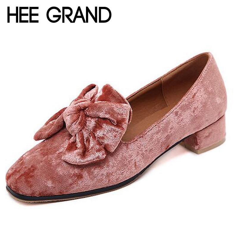 HEE GRAND Bowtie Brogue Shoes Woman 2017 New Oxfords Velvet Slip On High Heels Casual Platform Women Shoes Size 35-40 XWD5186 hee grand gold silver high heels 2017 summer gladiator sandals sexy platform shoes woman casual shoes size 35 43 xwz4075