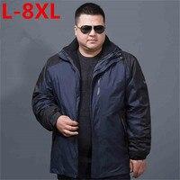 Новые Большие размеры 8XL 7XL 2 в 1 Fit куртка бренд Водонепроницаемый ветровка куртка зимняя куртка Для мужчин мужской пальто куртка дождевик па