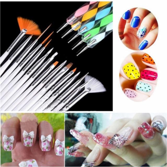 A Full Set Nail Art Pen Brushes 15pcs Nail Painting Brush+ 5pc Drill ...