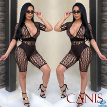 Rompers Sexy Women Casual Short Sleeve See Through V Neck Clubwear Bodycon Jumpsuit Rompers