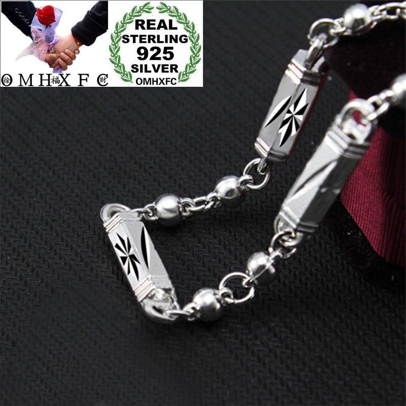 MHXFC Wholesale European Fashion Man Male Party Wedding Gift Geometric Cylinder Beads 925 Sterling Silver Chain Necklace NL208