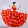 Большие качели красный ручной цветок женский костюм банкетный группы dancce современный танец сценическое одежда