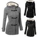 Женская мода Вниз & Парки теплое пальто 2016 зима плюшевые куртки в шляпе с длинными рукавами тонкий дамы пальто