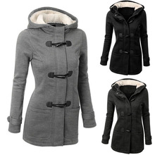 Women fashion Down & Parkas warm coat 2016 winter plush jacket with a hat long sleeves slim ladies coat