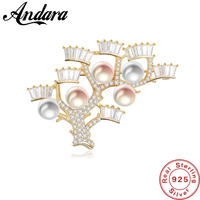 Clothing Brooch Classic 925 Sterling Silver Tree Of Life Pearl Brooches Pins For Women Fine Jewelry