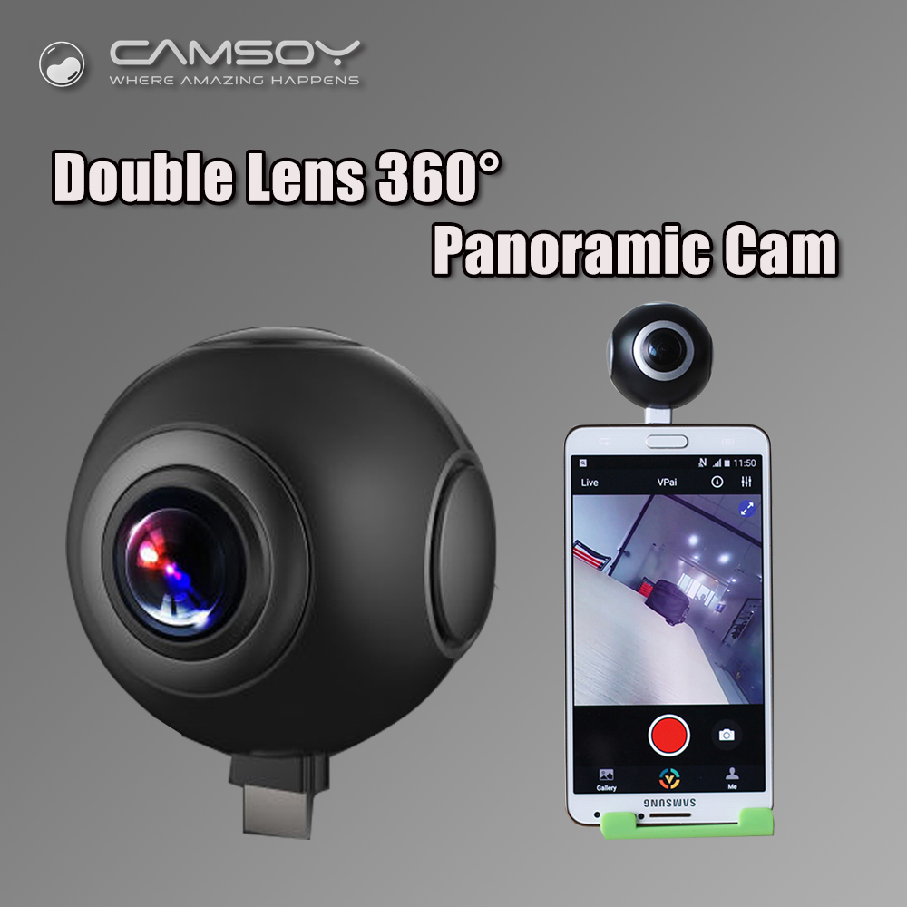 New 360 Camera 2048*1024 HD Panoramic VR 360 Degree Camera Dual Lens Wide Angle Mini DV H.264 Self Camera for Andriod Smartphone 1280 1024 28fps 360 vr camera full panorama digital video camera with 190 degree wide angle free shipping