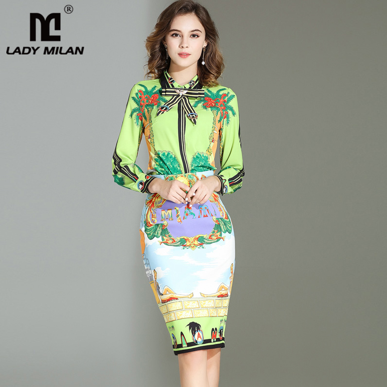 2018 Womens Turn Down Collar Long Sleeves Bow Detailing Shirt with Printed Pencil Skirt Fashion Designer Runway Two Piece Sets
