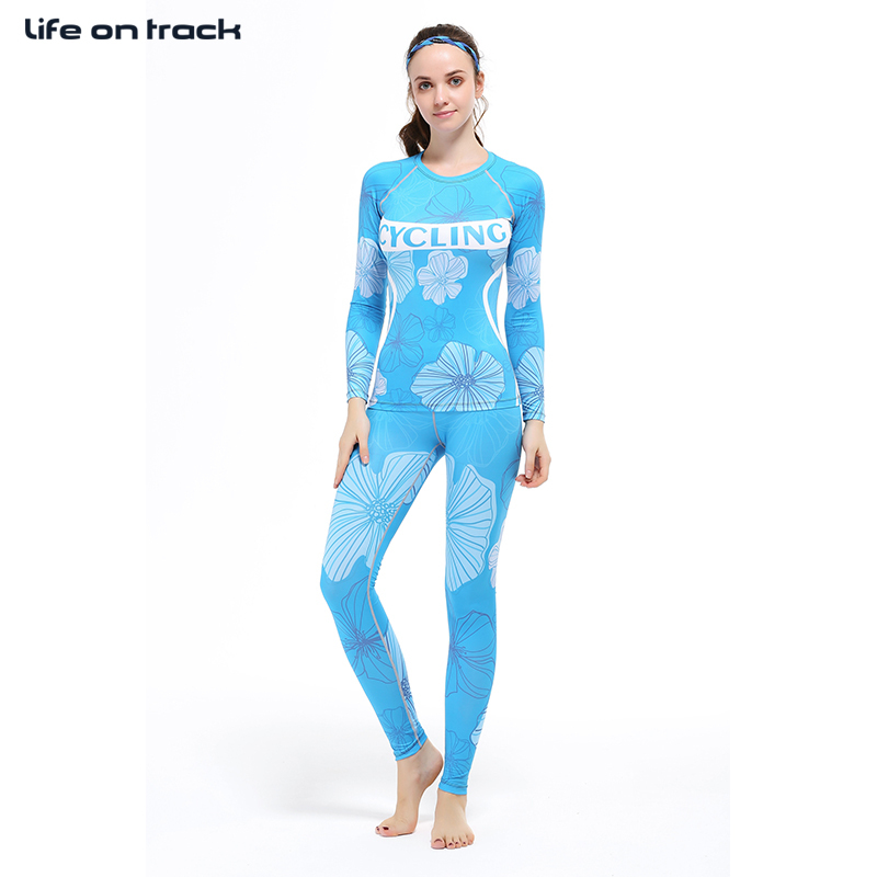 Femmes Yoga & cyclisme fleur imprimer ensembles intérieur Fitness formation Shaper Compression collants sport maillots musculation XS-2XL