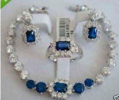 free shipping Jewellery Women's Set Blue Stone bracelet earring ring>> plated watch wholesale Quartz stone CZ crystal цена и фото