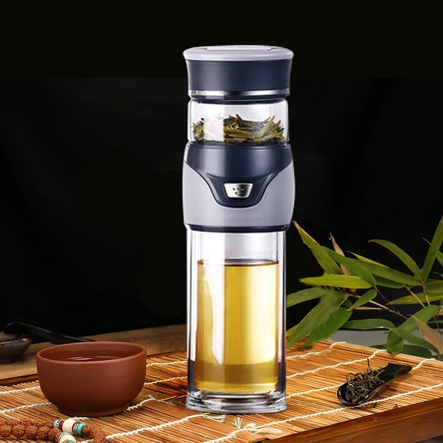 Double Borosilicate Glass Water Tea Separation Kettle With Tea Filter Portable Water Bottle For Tea