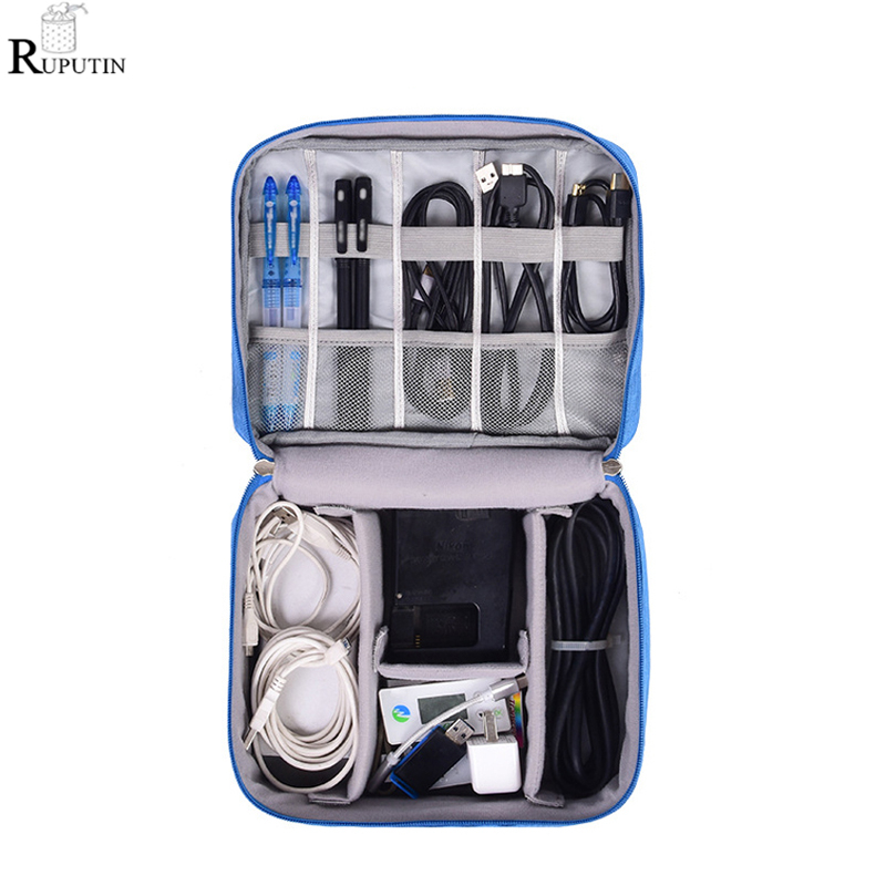 RUPUTIN Digital Cable Storage Bag Portable Data Package Gadgets Pouch Power Cord Charger Headset Organizer Drive Electronic Case(China)