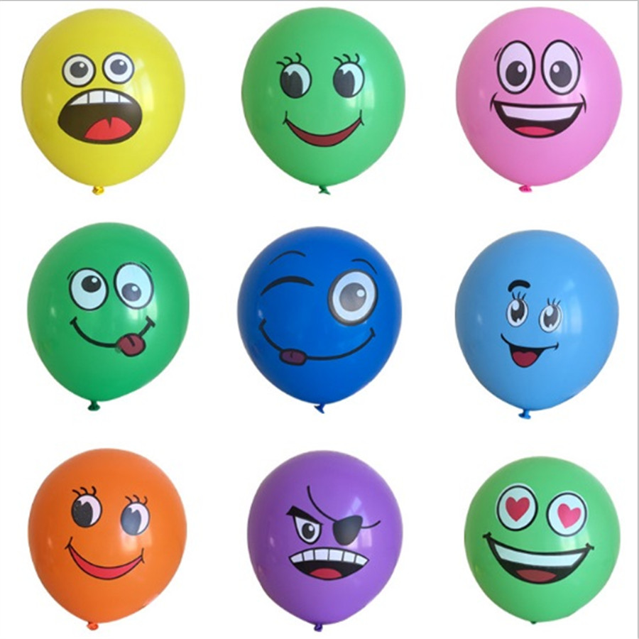 2017 100pcs Big Eyes Smiley Air Balloon Happy Birthday Party Decoration Inflatable Ballons Inflatable Latex Balls Kid Toys