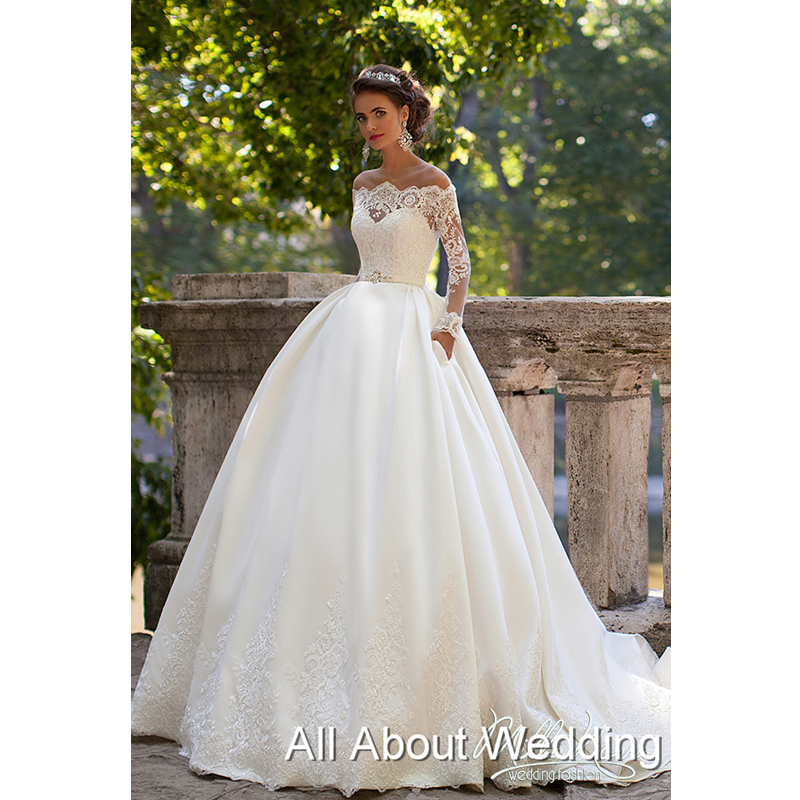 Buy long sleeve quality wedding dress for Boat neck long sleeve wedding dress