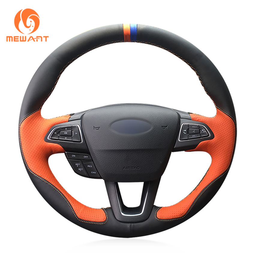 Ford C Max Leather Seats: MEWANT Black Leather Orange Leather Steering Wheel Cover