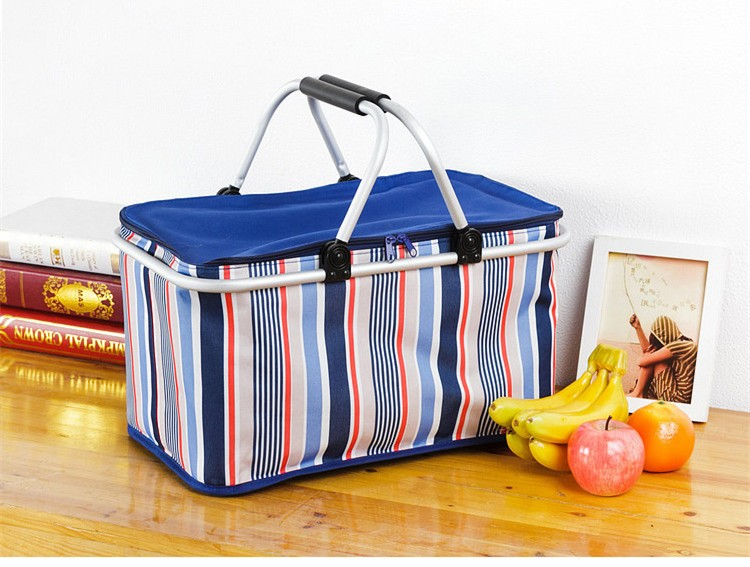 Aluminum Alloy Foldable Cooler Bag Basket Thermal Food Box Cans Fruit Storage Picnic Lunch Insulation Tote Cool Bag Package (1)