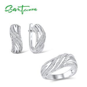 Image 1 - SANTUZZA תכשיטי סט לנשים טהור 925 סטרלינג כסף נוצץ לבן מעוקב Zirconia טבעת עגילי סט פשוט תכשיטים