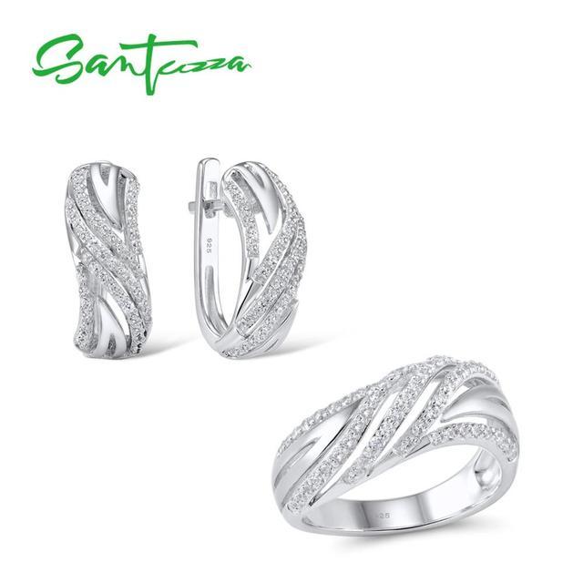 SANTUZZA תכשיטי סט לנשים טהור 925 סטרלינג כסף נוצץ לבן מעוקב Zirconia טבעת עגילי סט פשוט תכשיטים