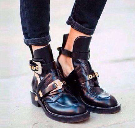 ФОТО 2017 top brand style boots Fashion spring/autumn women casual martin boots ladies cutout thick heel boots shoes woman