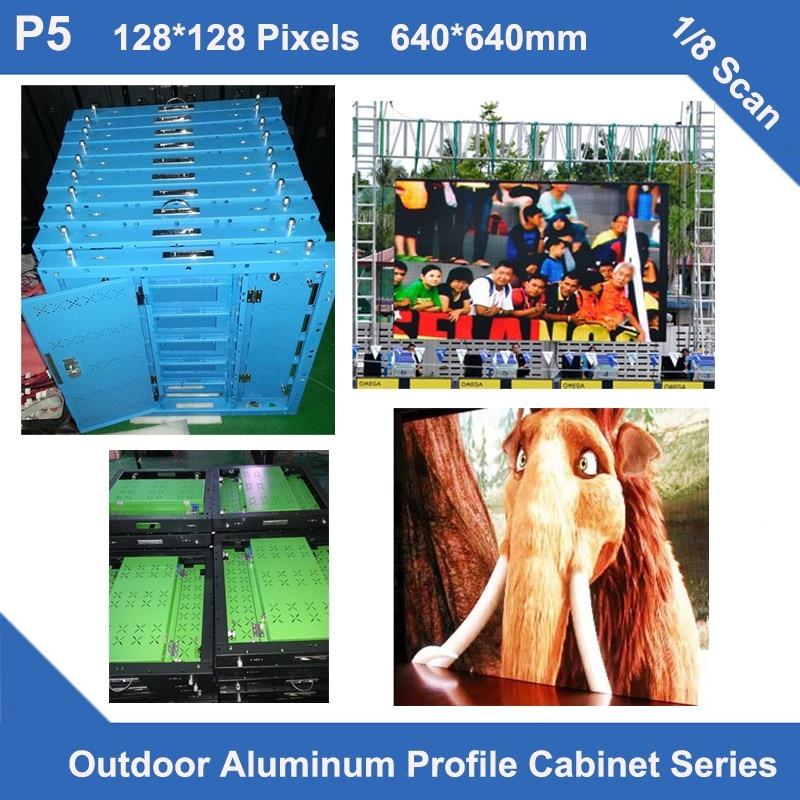 TEEHO 6pcs/lot P5 LED panel sign Outdoor slim aluminum profile cabinet 640mm*640mm 1/8S advertising panel billboard led screen