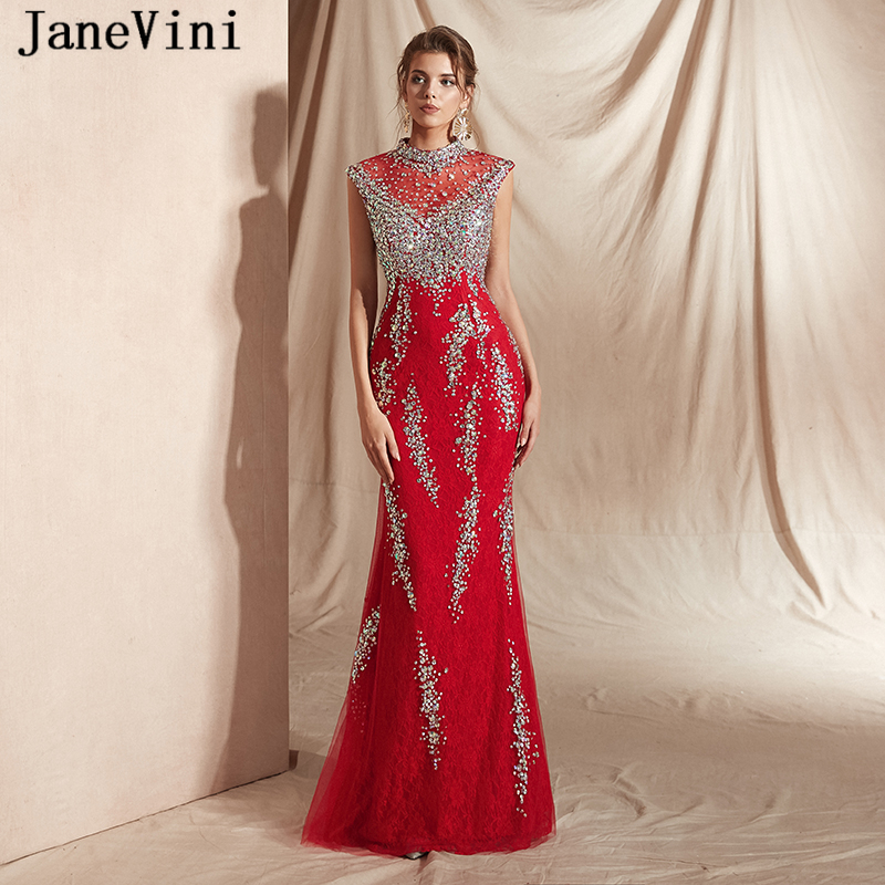 JaneVini Sparkling Beaded Luxury Mermaid   Prom     Dresses   High Neck Lace Crystal Sleeveless Red Evening Gowns Vestidos De Gala Longo