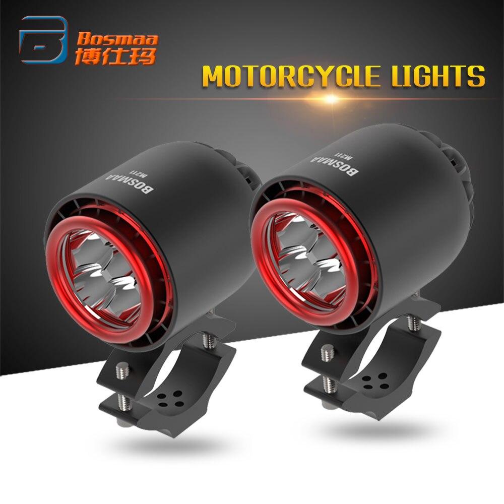 BOSMAA LED Headlight Turbo Spotlight 20W 3400LM 6000K White For Cafe Racer Chopper Motorcycle Headlamp Driving Hunting Fog Light