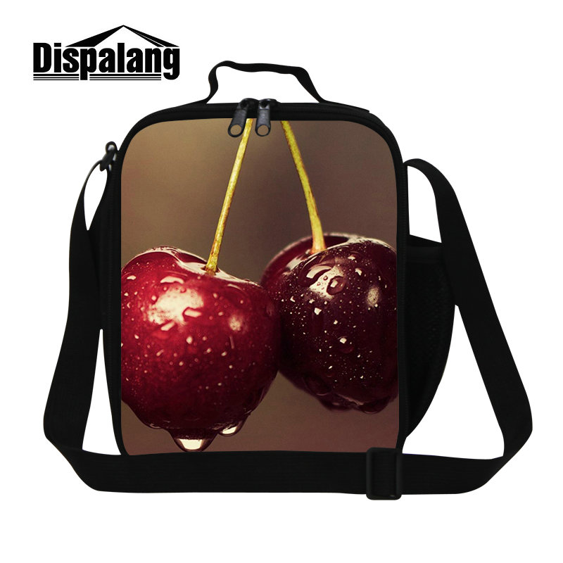 Dispalang cute cherry fruit thermal lunch bag for women adults portable food lunch box children kids meal cooler bags for school