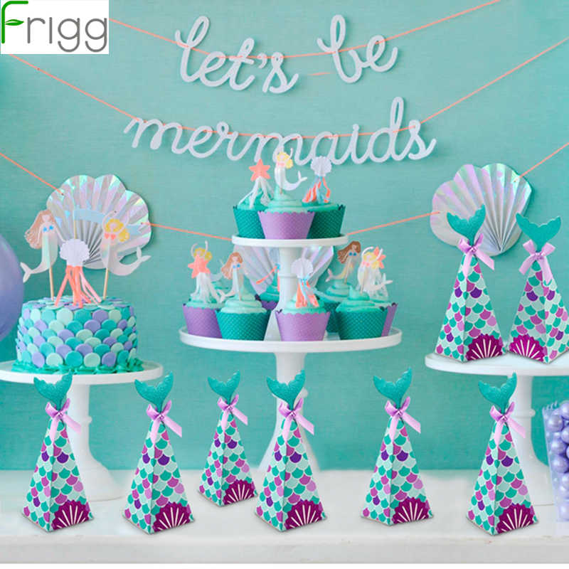 Frigg Little Mermaid Party Supplies Theme Mermaid Decor Mermaid Banner Balloon For Kids Favor Happy Birthday Wedding Party Deco