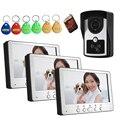 """7""""  Wired Video Doorbell Intercom System With 3 Indoor Monitor Access Control Video Door Phone"""