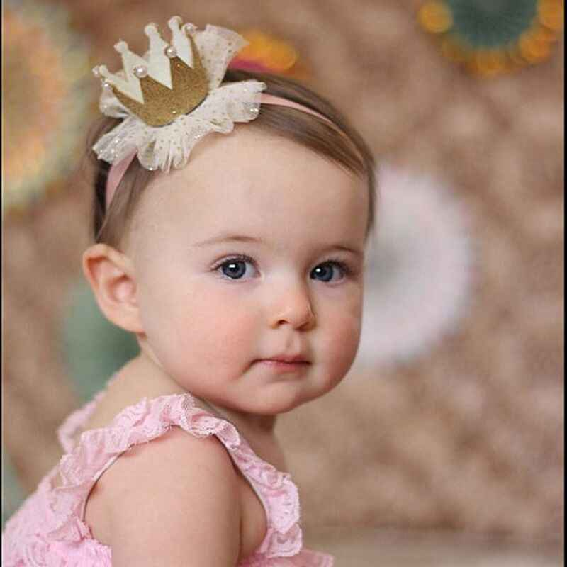 5 Patterns Baby Girls Headwear Princess Tiara Mesh Soft Floral Hairband Headband Hair Accessories Gifts for Kids