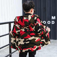New Camouflage Hooded Boy Jackets Double -side Wear Autumm Kids Coats Warmer Fashion Baby Jacket 8JK038
